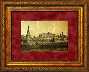 Императорский дворец картина с видом Москвы из сусального золота 960 пробы