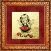 Ангелочек с яблочками миниатюра из сусального золота