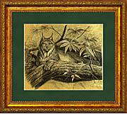Рысь картина из сусального золота с изображением рыси