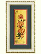 Пионы картина из сусального золота с изображением цветов