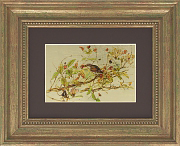 Птички в жимолости картина из белого сусального золота