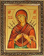 Семистрельная икона Божией Матери икона из сусального золота