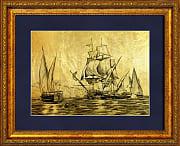 Морской бой картина из сусального золота с изображением парусников