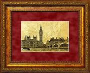 Лондон картина на сусальном золоте с изображением столици Англии